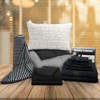 Superior Dorm Black Twin XL 13-Piece Bedding and Bath Set