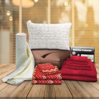 Superior Dorm Red Zig-Zag Twin XL 13-piece Bedding and Bath Set