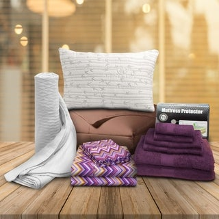 Superior Dorm ZIg-Zag Purple Twin XL 13-Piece Dorm Bedding and Bath Set