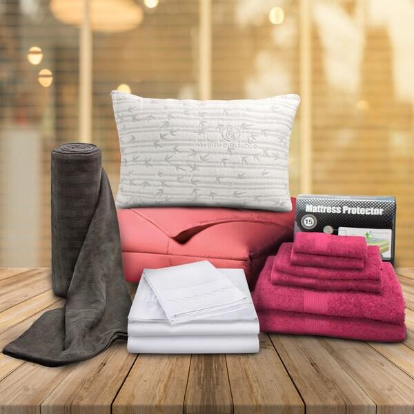 Superior Dorm Pink Twin XL 13-piece Bedding and Bath Set