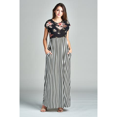 13faed0ff1 Spicy Mix Moriah Floral Striped Maxi Dress with Side Slit Pockets