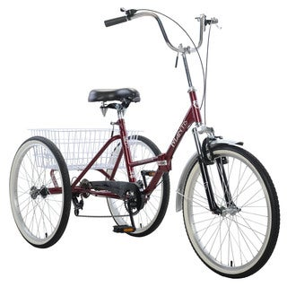 Mantis Tri-Rad Burgundy 6-speed 24-inch-wheel Adult Folding Tricycle