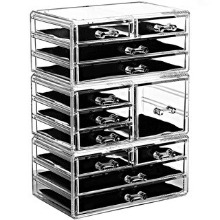 Ikee Design Acrylic Jewelry and Makeup Organizer Storage Drawer 3-piece Set with 7 Small, 1 Square, and 4 Large Drawers