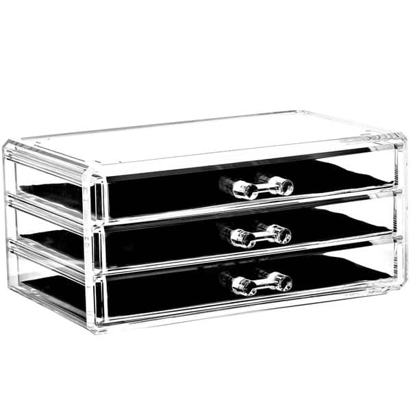 Shop Acrylic Jewelry And Makeup Organizer Storage Drawer 3 Piece Set With 9 Large Drawers Clear Overstock 16431160