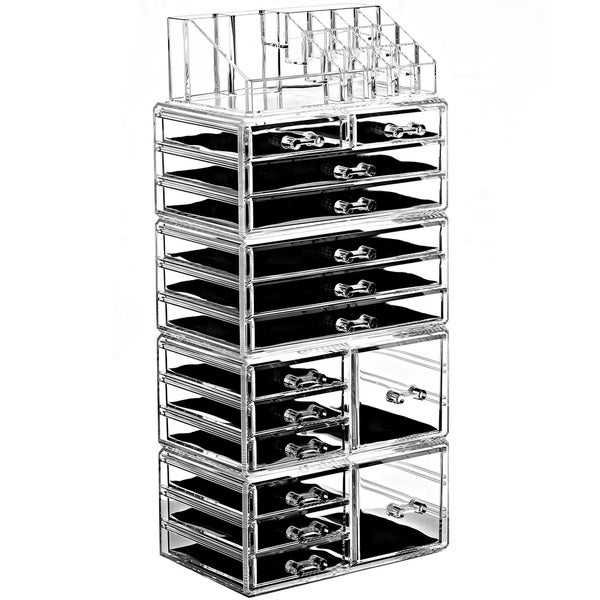 Ikee Design Acrylic Jewelry And Makeup Organizer Storage Drawer 3 Piece Set  With 8 Small