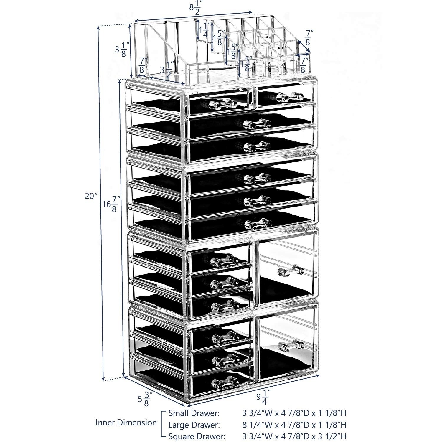 Shop Acrylic Jewelry Makeup Organizer 3 Pcs Set With Drawers Overstock 16431163