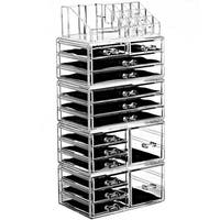 Ikee Design Acrylic Jewelry and Makeup Organizer Storage Drawer 3-piece Set with 8 Small, 2 Square, and 5 Large Drawers