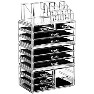 Ikee Design Acrylic Jewelry and Makeup Organizer Storage Drawer 4-piece Set with 5 Small, 1 Square, and 5 Large Drawers
