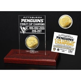 Pittsburgh Penguins 5-Time Stanley Cup Champions Gold Coin Etched Acrylic