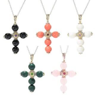 Michael Valitutti Palladium Silver Gemstone Bead Cross Pendant (Option: Rhodolite)
