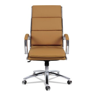 Alera Neratoli High-Back Slim Profile Chair, Camel Soft Leather, Chrome Frame