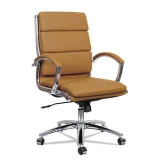 Alera Neratoli Mid-Back Slim Profile Chair, Camel Soft Leather, Chrome Frame