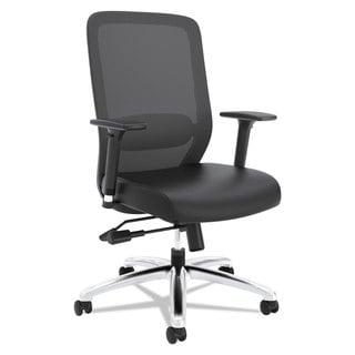 basyx VL721 Series Mesh Executive Chair, Mesh Back, SofThread LeatherSeat, Black