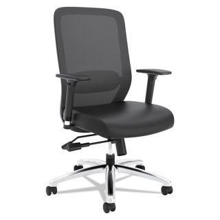 basyx VL721 Series Mesh Executive Chair, Mesh Back, SofThread LeatherSeat, Black