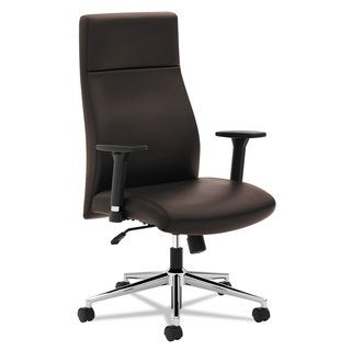 basyx VL108 Executive High-Back Chair, Brown Leather