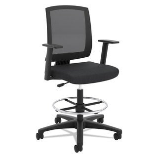 basyx VL515 Mid-Back Mesh Task Stool with Fixed Arms, Black