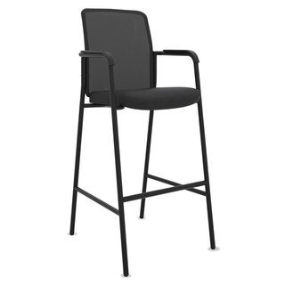 basyx VL528 Mesh Back Multi-Purpose Stool with Arms, Black, 2/Carton