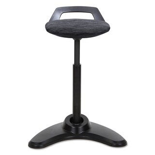 "Alera Sit to Stand Perch Stool, Black with Black Base - 35""H x 21""W x 15""D"