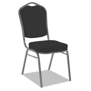 Iceberg Banquet Chairs with Dome Back, Black/Silver, 4/Carton