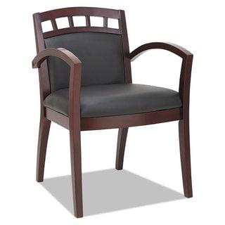 Alera Reception Lounge 500 Series Arch CutOut Wood Chair, Mahogany/Black Leather