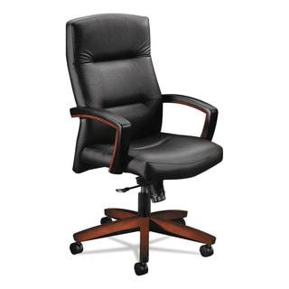HON 5000 Series Black Leather/Cognac Executive High-Back Swivel/Tilt Chair