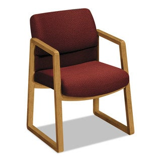 HON 2400 Series Burgundy Fabric Guest Arm Chair, Harvest Finish