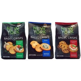 New York Style Baked Bagel Crisps (Variety Pack of 3)