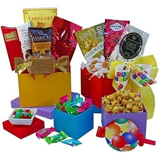 Happy Birthday Surprise Gourmet Food and Snacks Gift Tower
