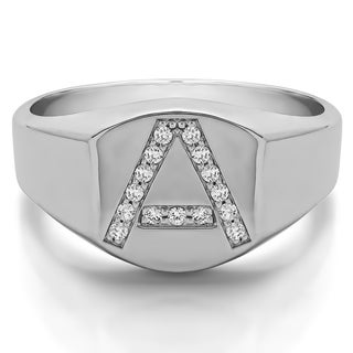 10k White Gold Personalized Men's Letter Ring Available in A to Z With Diamonds (G-H,I2-I3) (0.1 Cts)