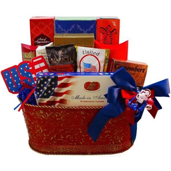 America The Beautiful Patriotic Gourmet Food and Snacks Gift Basket
