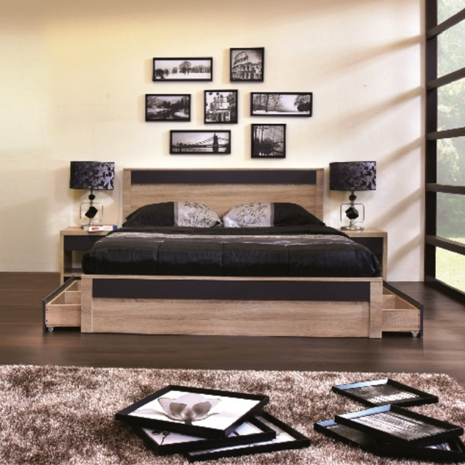 Shop Contemporary Light Brown And Gray Wood Storage Platform Bed Baxton Studio Free
