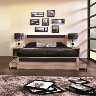 Contemporary Light Brown and Gray Wood Storage Platform Bed by Baxton Studio