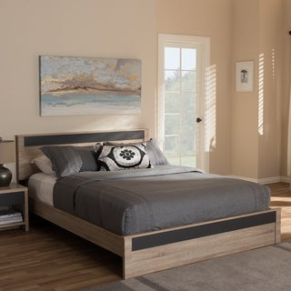 Contemporary Light Brown and Gray Wood Platform Bed by Baxton Studio
