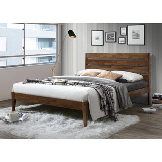 Mid-Century Brown Wood Platform Bed by Baxton Studio