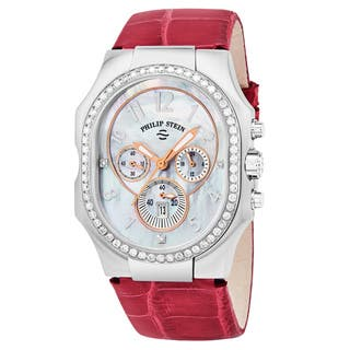 Philip Stein Women's 23DD-FMOP-ARS 'Signature' Mother of Pearl Diamond Dial Pink Leather Strap Chronograph Swiss Quartz Watch|https://ak1.ostkcdn.com/images/products/16431680/P22777441.jpg?impolicy=medium