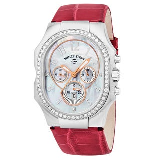 Philip Stein Women's 23DD-FMOP-ARS 'Signature' Mother of Pearl Diamond Dial Pink Leather Strap Chronograph Swiss Quartz Watch