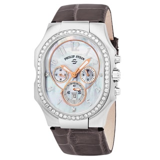 Philip Stein Women's 23DD-FMOP-APRS 'Signature' Mother of Pearl Diamond Dial Purple Leather Strap Chronograph Swiss Quartz Watch