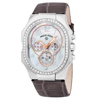 Philip Stein Women's 23DD-FMOP-APRS 'Signature' Mother of Pearl Diamond Dial Purple Leather Strap Chronograph Swiss Quartz Watch