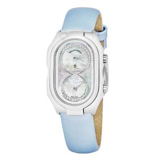 Philip Stein Women's 14-IDW-ILBL 'Signature' Mother of Pearl Diamond Dial Blue Satin Strap Swiss Quartz Watch