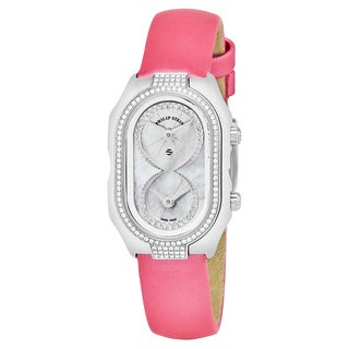 Philip Stein Women's 'Signature' Mother of Pearl Dial Pink Satin Strap Diamond Swiss Quartz Watch