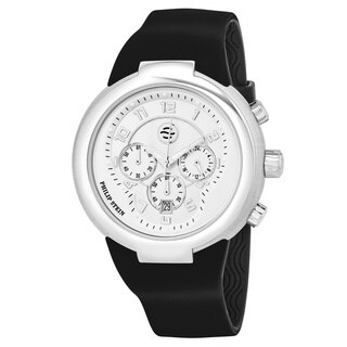 Philip Stein Men's 32-AW-RBB 'Active' Silver Dial Black Rubber Strap Chronograph Swiss Quartz Watch