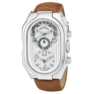 Philip Stein Men's 13-LW-VCM 'Signature' Silver Dial Beige Leather Strap Chronograph Swiss Quartz Watch
