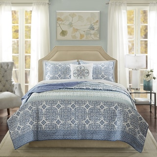 Madison Park Essentials Nova Blue Complete Coverlet and Cotton Sheet Set