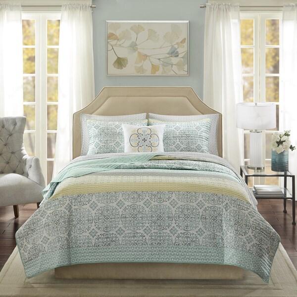 Madison Park Essentials Nova Green Complete Coverlet and Cotton Sheet Set