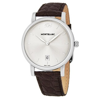 Mont Blanc Men's 108770 'Star Classique' Silver Dial Brown Leather Strap Swiss Quartz Watch