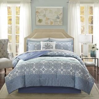 Madison Park Essentials Nova Blue Complete Comforter and Cotton Sheet Set