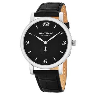 Mont Blanc Men's 107072 'Star Clasisque' Black Dial Black Leather Strap Swiss Automatic Watch
