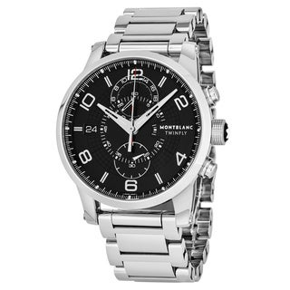 Mont Blanc Men's Timewalker TwinFly Stainless Steel Chronograph Swiss Automatic Watch with Black Dial