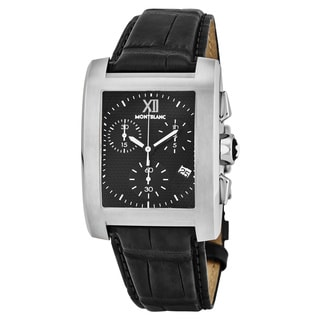 Mont Blanc Men's 101562 'Profile Elegance' Black Dial Black Leather Strap Chronograph Swiss Quartz Watch