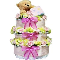 Sweet Baby Diaper Cake Gift Tower with Teddy Bear